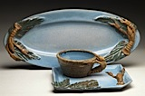 Oval Platter with Square Plate and Bowl
